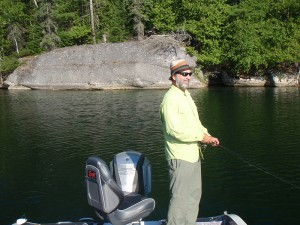 Lawrence fishing on the prime Bass Canadian Shield lakes