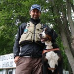 Lawrence and his guide dog Maestro